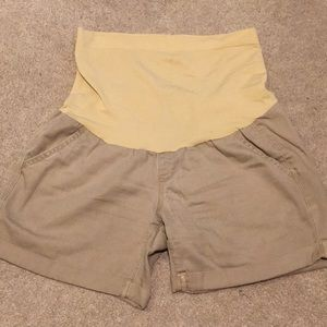 Pants - Tan Maternity Shorts